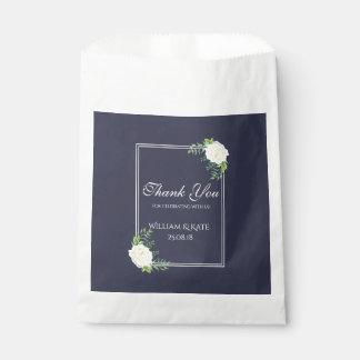 Navy Floral Elegant ivory rose Favour bags