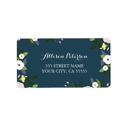 Navy Floral Garden Address Label