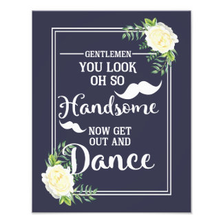 Navy floral Ivory Rose wedding party Bathroom sign Photo Print