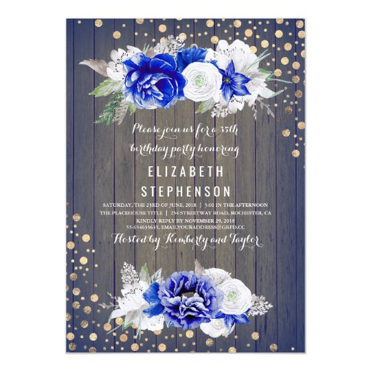 Navy Floral Rustic Birthday Party Card