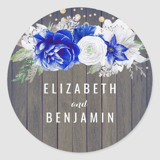 Navy Floral Rustic Classic Round Sticker