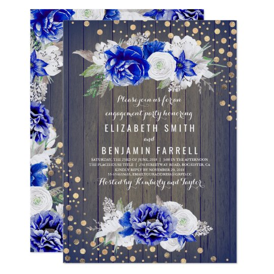 Navy Floral Rustic Engagement Party Card