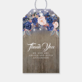 Navy Floral Rustic Gift Tags