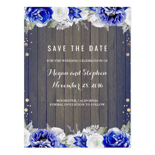 Navy Floral Rustic Save the Date Postcard