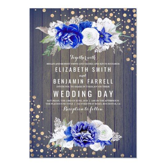Navy Floral Rustic Wedding Card