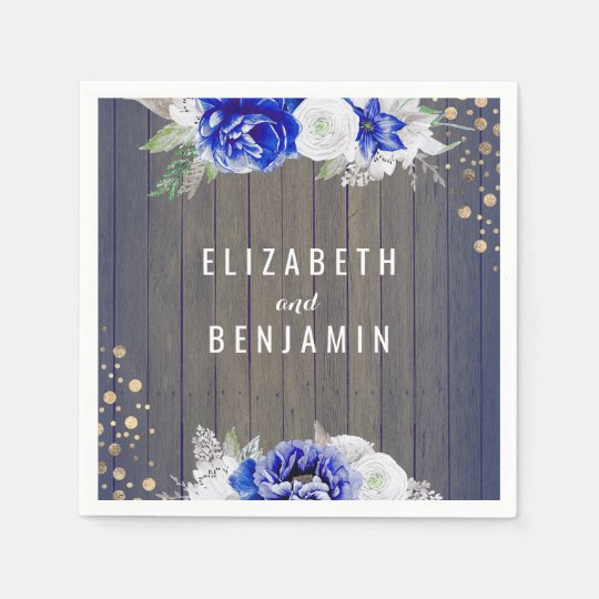 Navy Floral Rustic Wedding Disposable Napkins