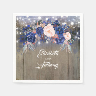 Navy Floral Rustic Wedding Disposable Serviette