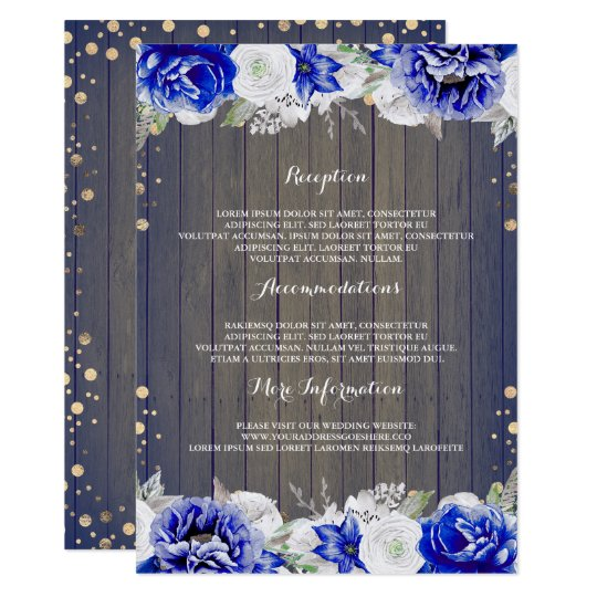 Navy Floral Rustic Wedding Information Guest Card
