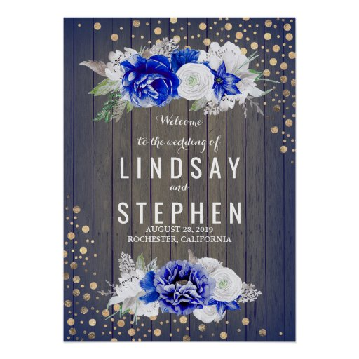 Navy Floral Rustic Wedding Welcome Sign