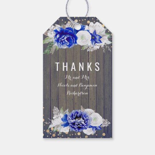 Navy Floral Rustic Wood Barn Wedding Gift Tags
