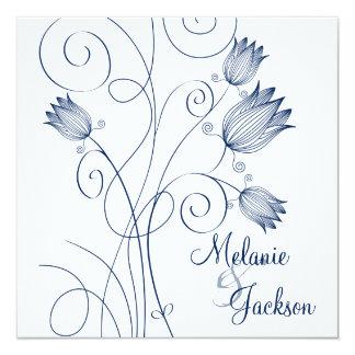 Navy Floral Swirls White Post Wedding Invita Custom Invitations