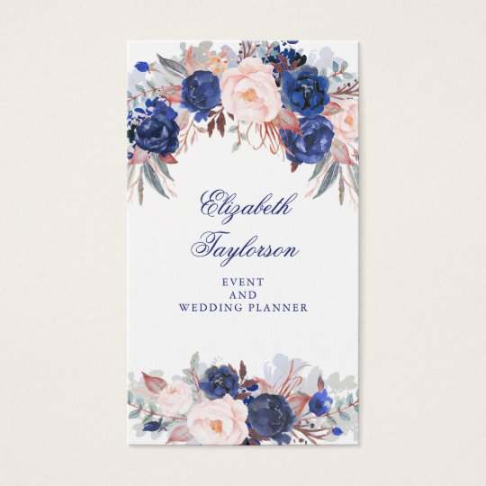 Navy Floral Watercolor Business Card
