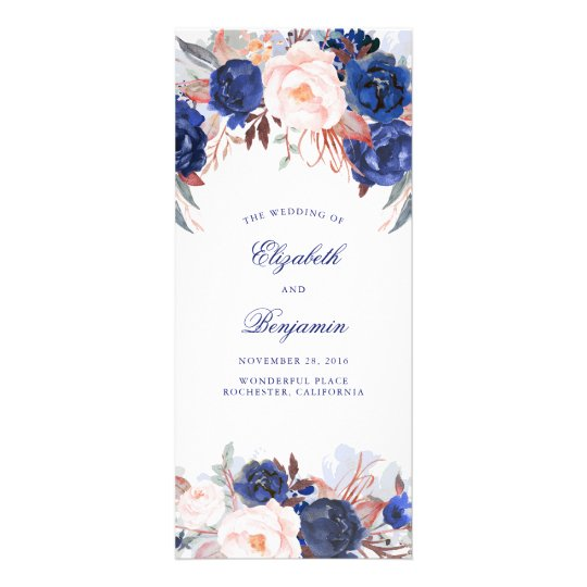 Navy Floral Watercolor Wedding Programs Rack Card