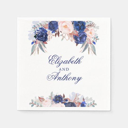 Navy Floral Wedding Disposable Napkin