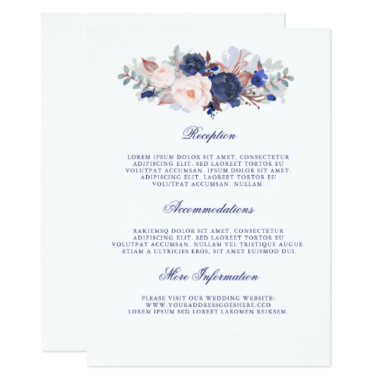Navy Floral Wedding Information Guest Card