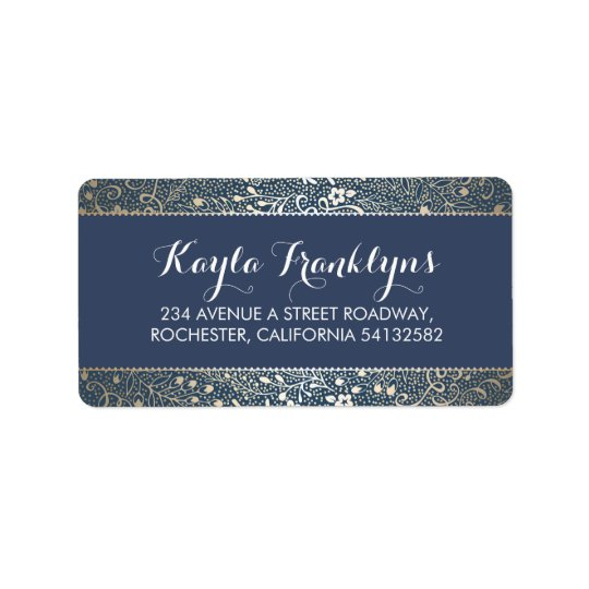 navy floral wedding label