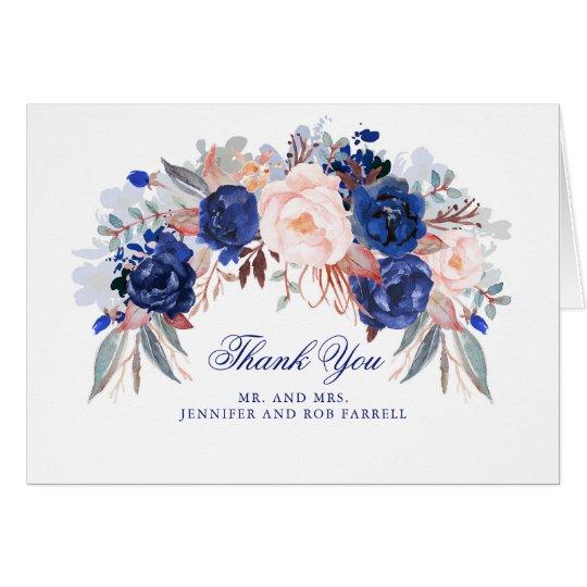 Navy Floral Wedding Thank You Card