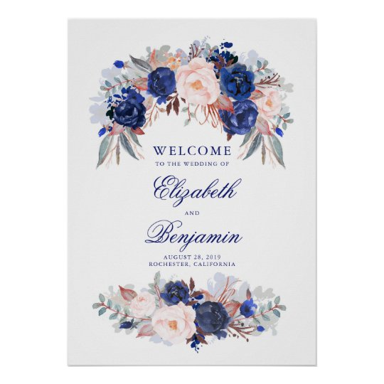 Navy Floral Wedding Welcome Sign