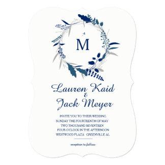 Navy Floral Wreath Rustic Wedding Invitation
