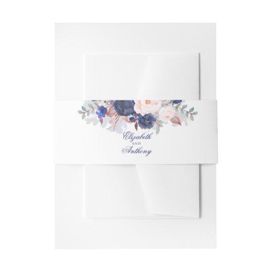 Navy Florals Elegant Wedding Invitation Belly Band