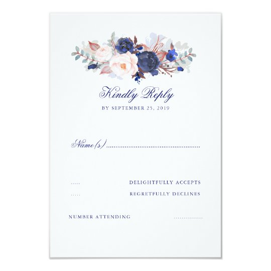 Navy Florals Wedding RSVP Card