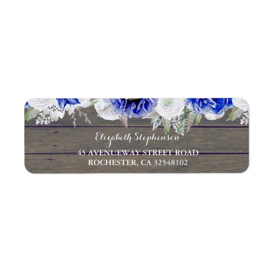 Navy Flowers Rustic Wedding Return Address Label