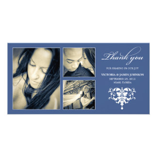 NAVY FORMAL COLLAGE | WEDDING THANK YOU CARD PERSONALIZED PHOTO CARD