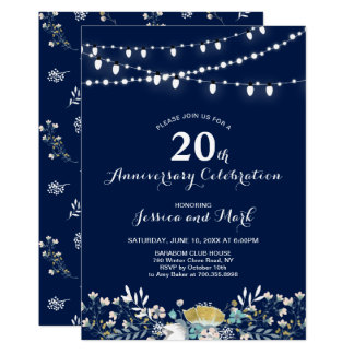 Navy & Gold 20th Wedding Anniversary Invitation