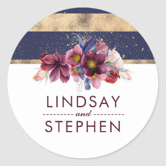 Navy Gold and Burgundy Floral Elegant Wedding Classic Round Sticker