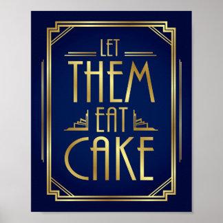 Navy Gold Art Deco LET THEM EAT CAKE Sign Print