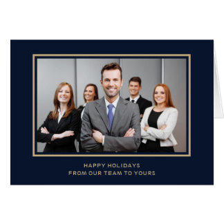 Navy Gold Corporate Business Photo holiday Card