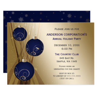 Navy Gold Festive Corporate holiday party Card