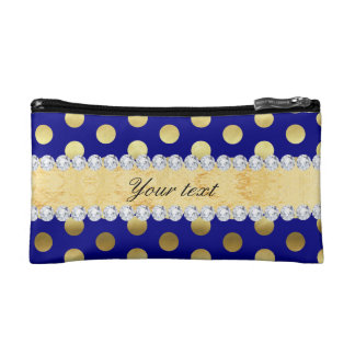 Navy Gold Foil Polka Dots Diamonds Cosmetic Bags