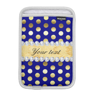 Navy Gold Foil Polka Dots Diamonds iPad Mini Sleeve
