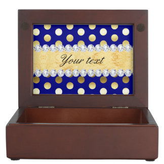Navy Gold Foil Polka Dots Diamonds Keepsake Box