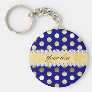 Navy Gold Foil Polka Dots Diamonds Key Ring
