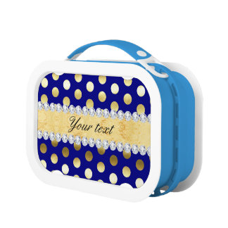 Navy Gold Foil Polka Dots Diamonds Lunch Box