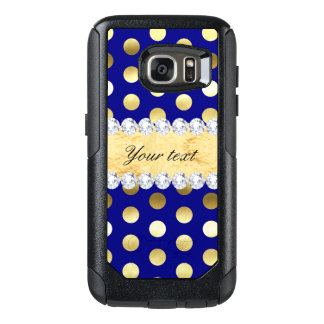 Navy Gold Foil Polka Dots Diamonds OtterBox Samsung Galaxy S7 Case