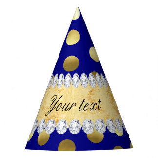 Navy Gold Foil Polka Dots Diamonds Party Hat