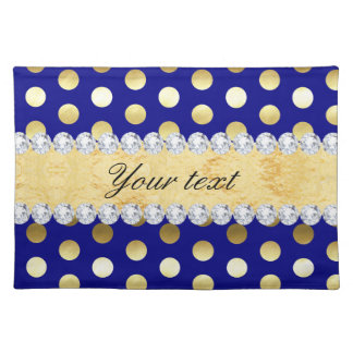 Navy Gold Foil Polka Dots Diamonds Placemat