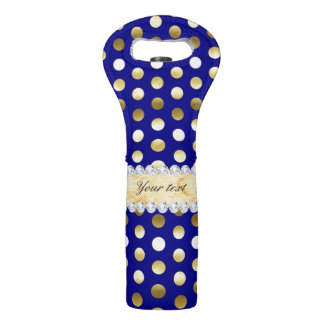 Navy Gold Foil Polka Dots Diamonds Wine Bag