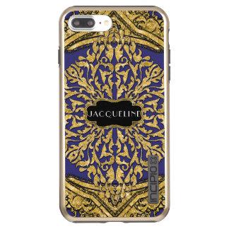 Navy Gold Glitter Moroccan Swirl Scroll Elegant Incipio DualPro Shine iPhone 8 Plus/7 Plus Case