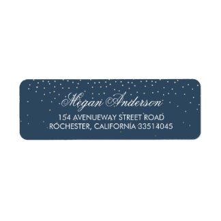 Navy Gold Glitter Wedding Return Address Label