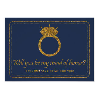 Navy & Gold Glitter Will You Be My Maid Of Honor? 13 Cm X 18 Cm Invitation Card