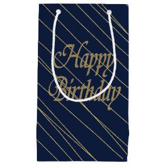 Navy Gold  Happy Birthday Small Gift Bag