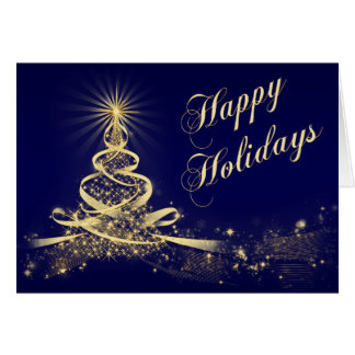 Navy, Gold Lighted Tree Corporate Holiday Card Greeting Cards