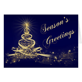 Navy, Gold Lighted Tree Corporate Holiday Card Greeting Card