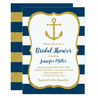 Navy & Gold Nautical Anchor Bridal Shower Card