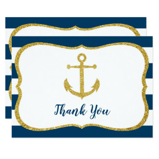 Navy & Gold Nautical Bridal Shower Thank You Card