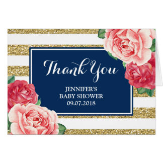 Navy Gold Pink Flowers Baby Shower Thanks Card
